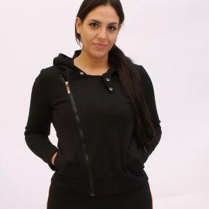 Sweaters - Long Sleeve Lapel Zip Black  Snap Cardigan Hoodie